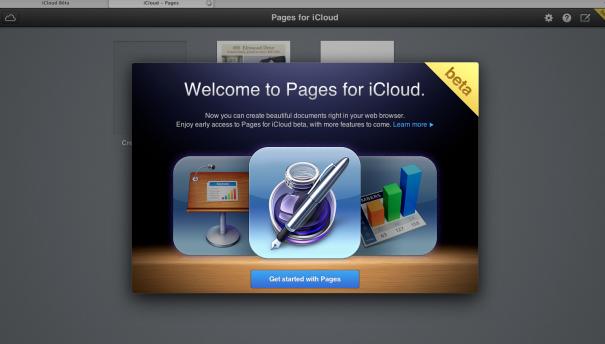 Pages pour iCloud - Bienvenue